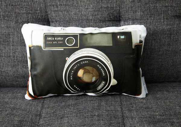 old camera print on pillow
