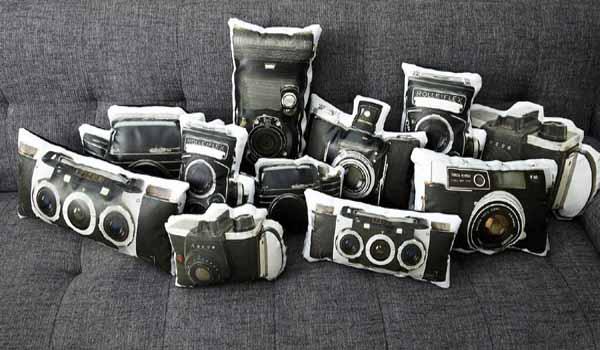 Unique vintage camera pillows original decorative accessories for Unique decorative accessories