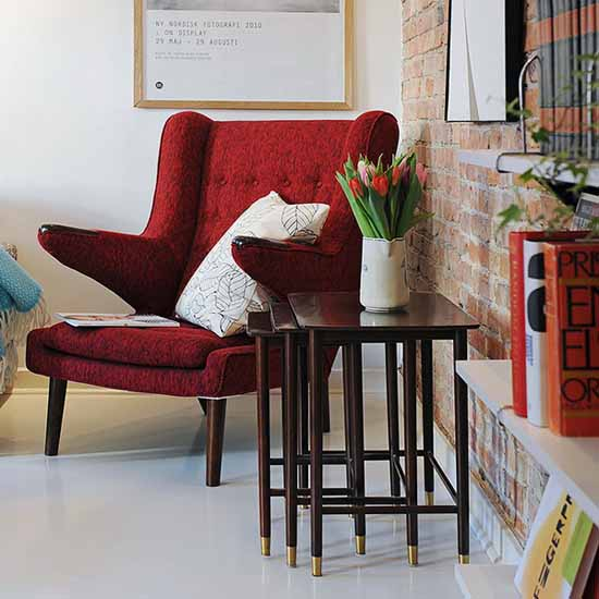 red chair and side table