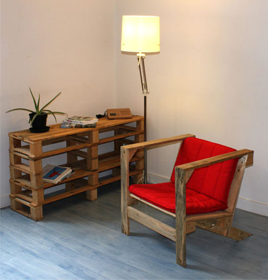 wood chair in retro style with red cushion