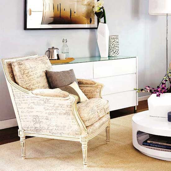 vintage chair and modern living room furnishings
