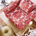 red chair upholstery fabric with floral design