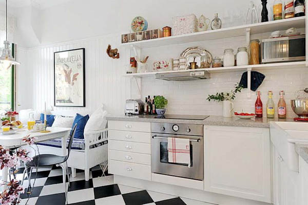White Kitchen Cabinets And Shelves For Storage, Black And White Floor  Tiles, White And Blue Decorating Fabric For Dining Room And Kitchen Decor Part 42