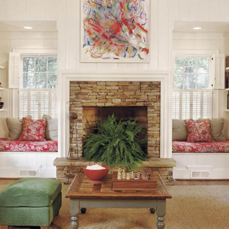 18 window seat design and interior decor ideas beautiful for Fireplace with windows on each side