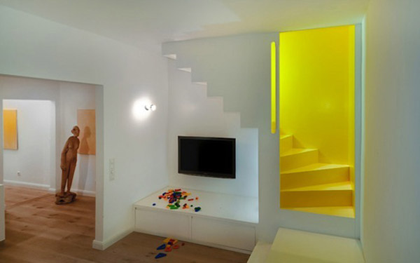 yellow staircase and white decorating ideas