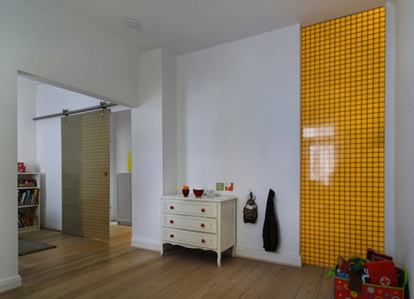 yellow wall panel for kids room design