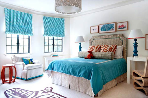 blue curtains and bedding - Bedroom Decorating Ideas Blue And Green