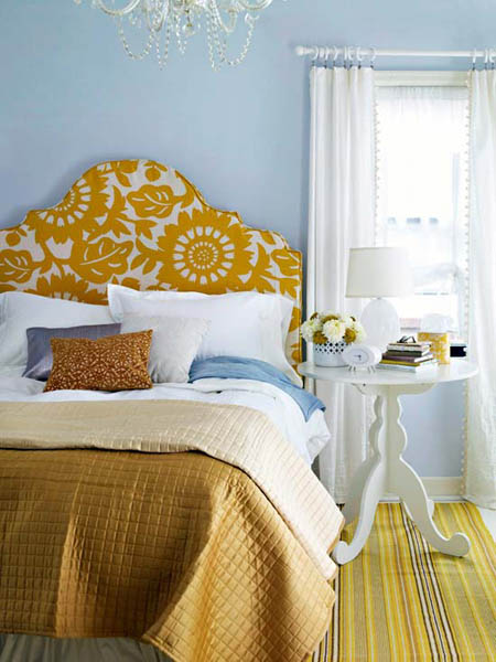 blue wall paint and pillows