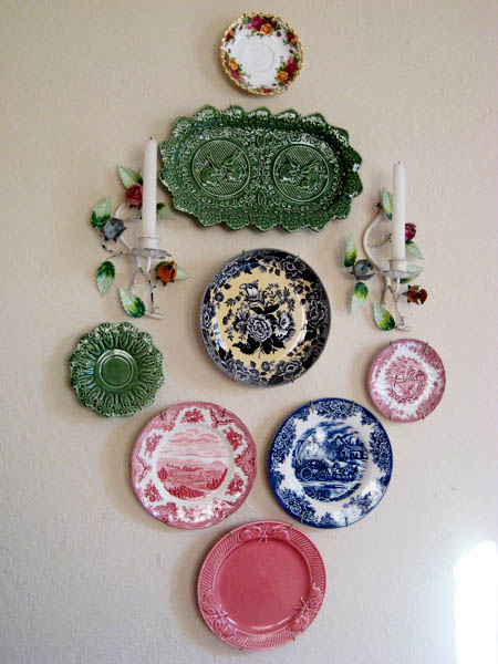 colorful collage made with ceramic plates & Decorative Plates Collage Beautiful Wall Decorating Ideas
