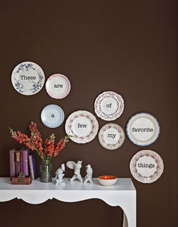 Brown Wall Decor decorative plates collage, beautiful wall decorating ideas