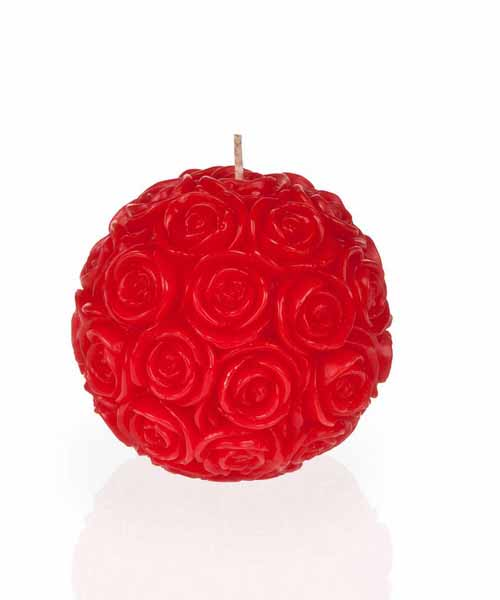 red flower shaped candle
