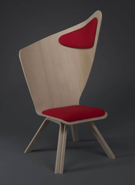 contemporary chair with tall backrest and cushion