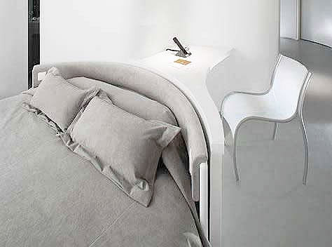 bed headboard is combined with desk