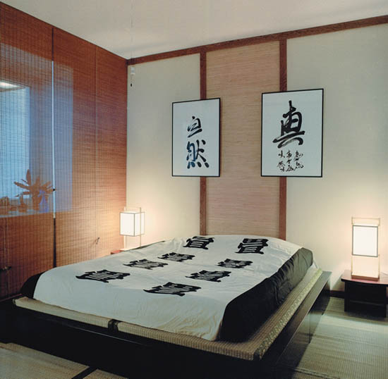 oriental bedroom decor with law bedside tables