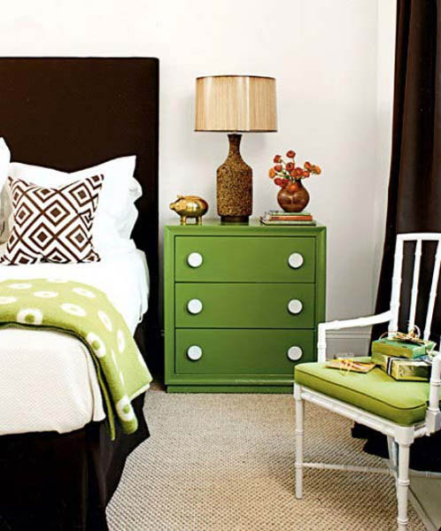 green bedside cabinet with drawers