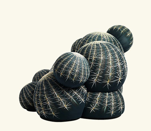 modern furniture made of fabric with cactus print