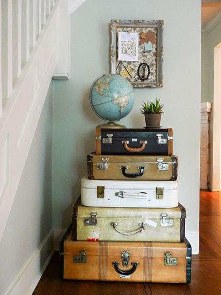 storage unit made of old suitcases
