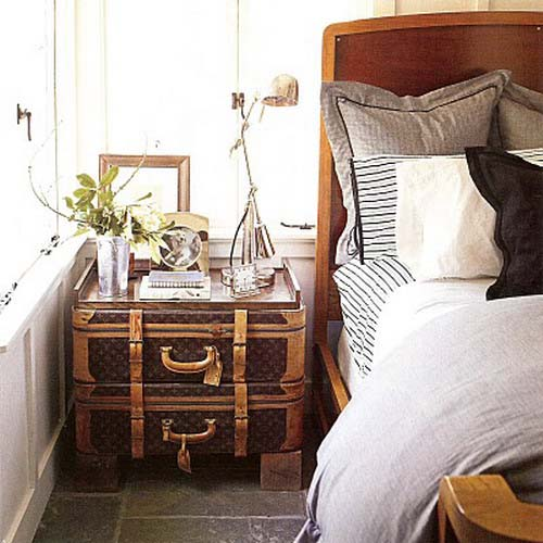 bedside table made of vintage suitcases