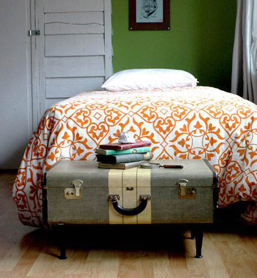 storage trunk made of old suitcase