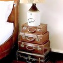 bedside table made of old suitcases