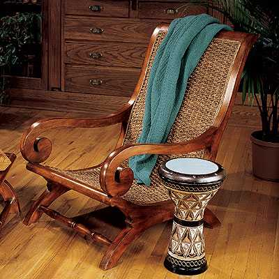 wood armchair and side table in colonial style house