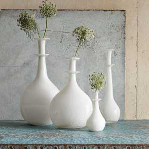 white painted clear glass vases