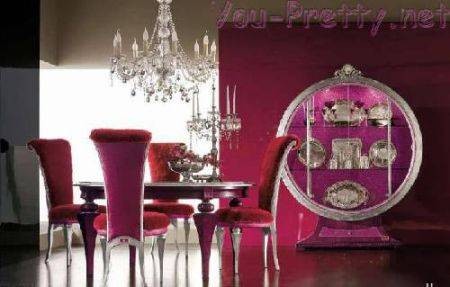 pink color for wall and furniture upholstery
