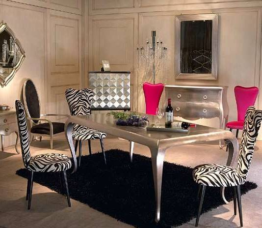 Black Carpet And Silver Plated Dining Furniture