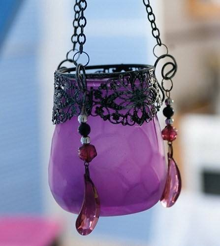 purple lantern with colored crystals