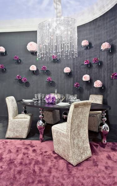 dining room decorating in gray purple and pink colors