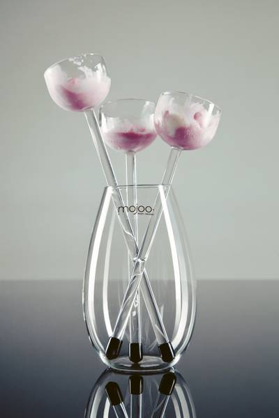 glass vase with canape glasses for ice cream
