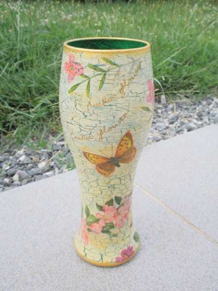 hand painted drinking glass with butterflies decorations