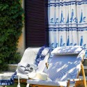 outdoor curtains, garden chairs with cushions