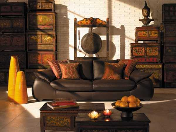 Remarkable colonial style in house interiors with ethnic flare for Arredamento stile orientale