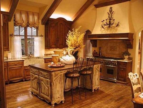 kitchen island in colonial style house