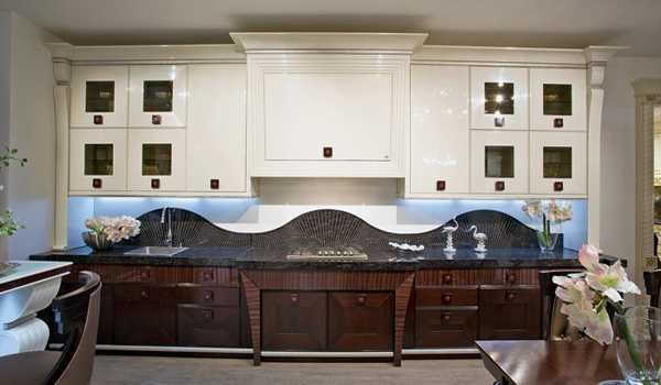 kitchen cabinets and backsplash in art deco style