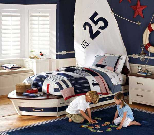 A Dramatic Focal Wall With Stripes Look Adventurous And Contemporary,  Offering Striking Nautical Decorating Ideas For Kids Rooms.