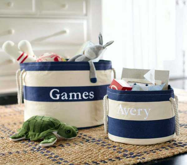 canvas storage bags with white and blue stripes