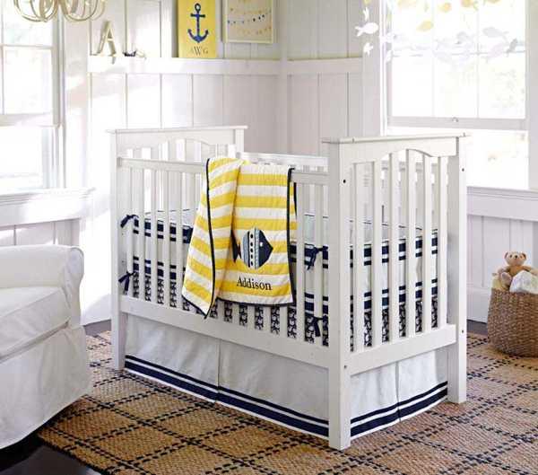 white and blue toddler bedroom decor