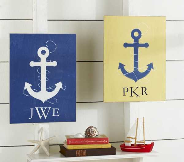 Nautical decorating concepts for little ones rooms from for Anchor wall decoration