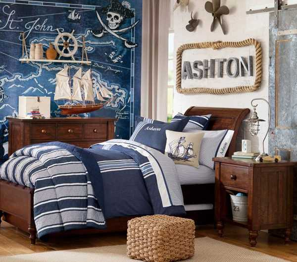 Nautical decorating ideas for kids rooms from pottery barn for Bedroom ideas nautical