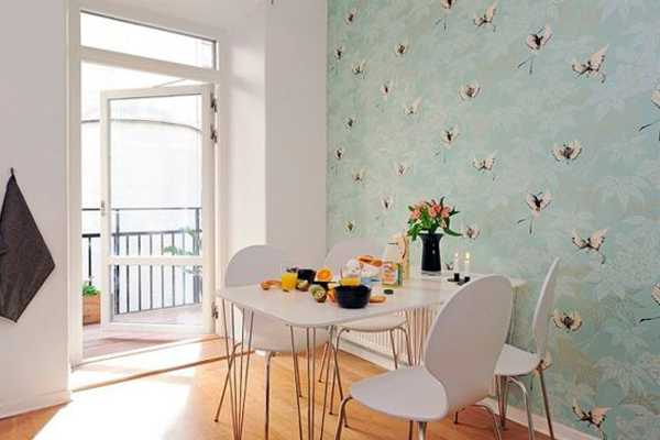 blue wallpaper and dining furniture set