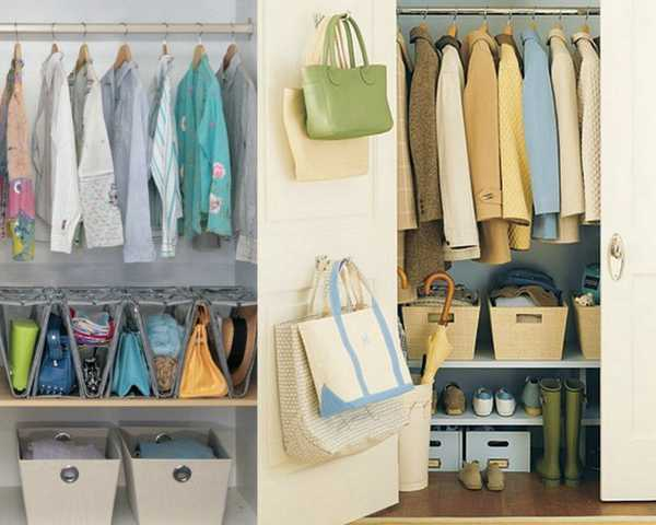 space dividers, door hooks and shelves with baskets for bags