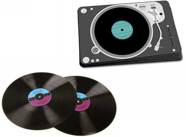 music records prints on place mats