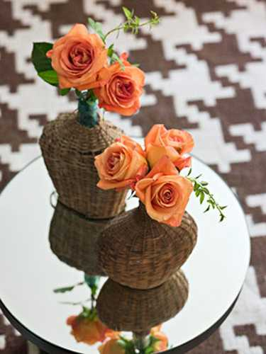 wicker bottle with roses