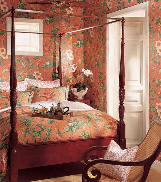 classic bedroom furniture decorative fabrics and modern wallpaper with floral pattern