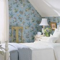 blue wallpaper with floral pattern