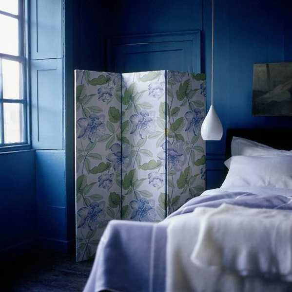 modern wallpaper for bedroom screen and blue wall paint