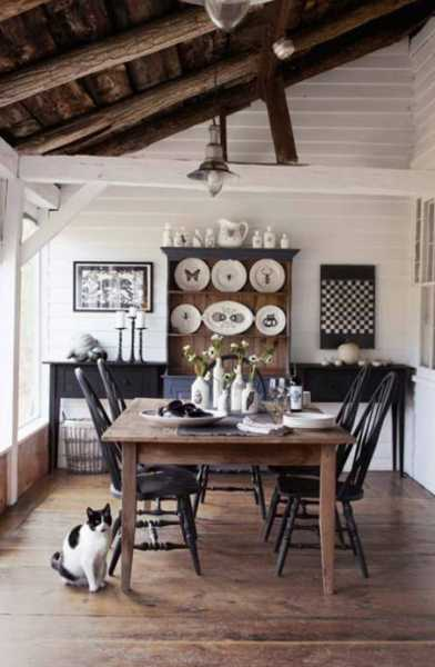 20 modern ideas bringing black color into country style decor for Country dining room color ideas