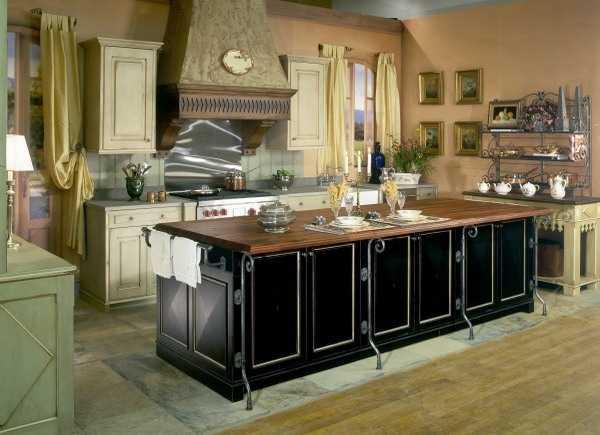 black kitchen island with white details